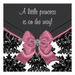 Black Damask Pink Bow Princess Baby Shower Invitations