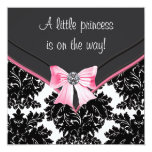 Black Damask Pink Bow Princess Baby Shower Announcement