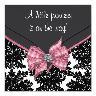 Black Damask Pink Bow Princess Baby Shower Personalized Announcement