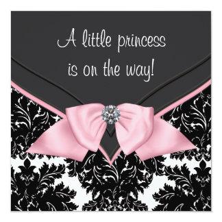 Black Damask Pink Bow Princess Baby Shower Personalized Invitation