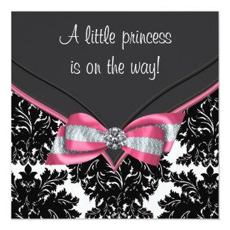 Black Damask Pink Bow Princess Baby Shower Invite