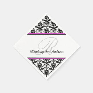 Black Damask Pink Gray Monogram Wedding Paper Napkin