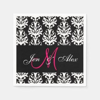 Black Damask Pink Monogram Wedding Paper Napkins