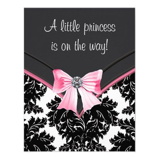 Black Damask Pink Princess Baby Shower Custom Announcements