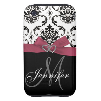 Black Damask Pink Ribbon Print iPhone 3G Case-Mate Tough iPhone 3 Cases