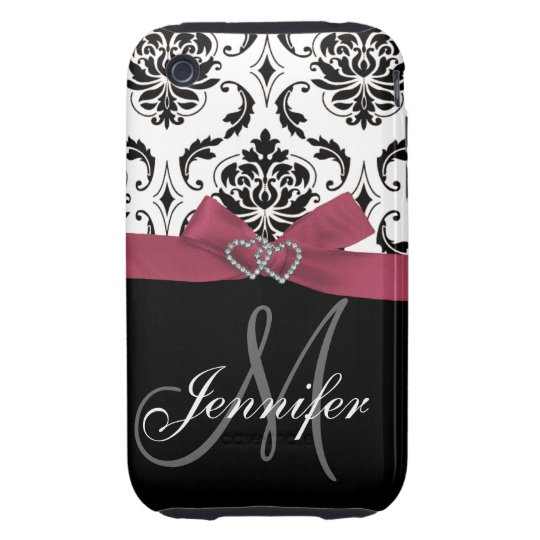 Black Damask Pink Ribbon Print iPhone 3G Case-Mate