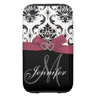 Black Damask Pink Ribbon Print iPhone 3G Case-Mate iPhone 3 Tough Case