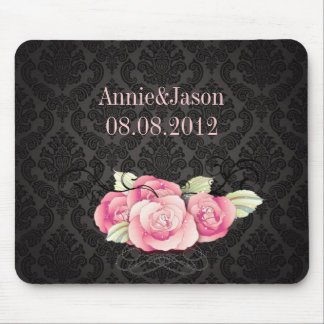 black damask pink roses vintage wedding mouse pad