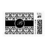 black damask postage stamps