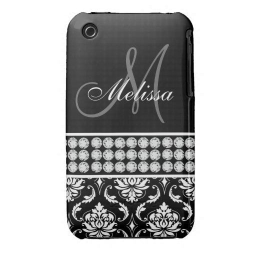 Black Damask Printed Diamonds iPhone 3G Case iPhone 3 Cover