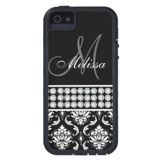 Black Damask Printed Diamonds Personalized iPhone 5 Covers