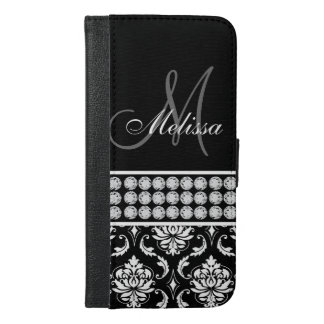 Black Damask Printed Diamonds Personalized iPhone 6/6s Plus Wallet Case