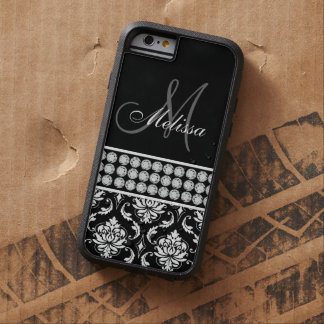 Black Damask Printed Diamonds Personalized Tough Xtreme iPhone 6 Case