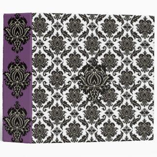 Black Damask Purple Lavender Fields Binder