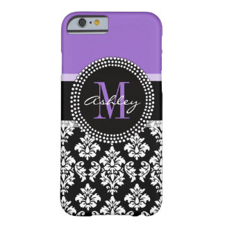 Black Damask Purple Monogram Pattern Barely There iPhone 6 Case