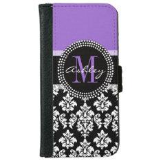 Black Damask Purple Monogram Pattern iPhone 6/6s Wallet Case at Zazzle