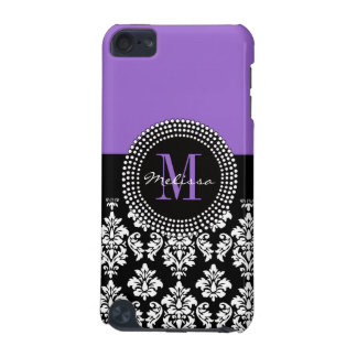 Black Damask Purple Monogram Pattern iPod Touch (5th Generation) Cases