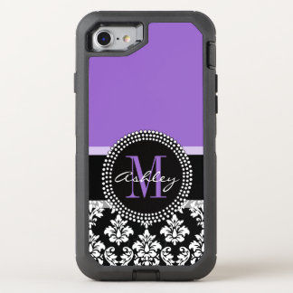 Black Damask Purple Monogram Pattern OtterBox Defender iPhone 7 Case