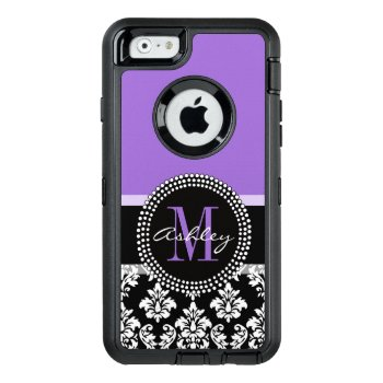 Black Damask Purple Monogram Pattern Otterbox Defender Iphone Case by DamaskGallery at Zazzle