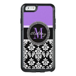 Black Damask Purple Monogram Pattern OtterBox iPhone 6/6s Case