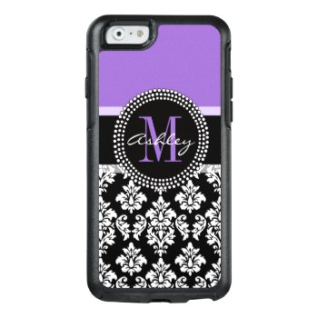 Black Damask Purple Monogram Pattern Otterbox Iphone 6/6s Case by DamaskGallery at Zazzle
