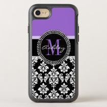 Black Damask Purple Monogram Pattern OtterBox Symmetry iPhone 7 Case
