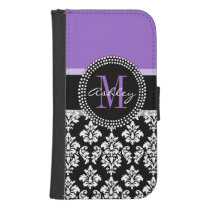 Black Damask Purple Monogram Pattern Phone Wallet