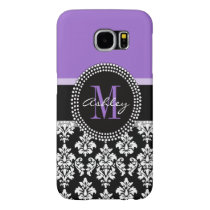 Black Damask Purple Monogram Pattern Samsung Galaxy S6 Case