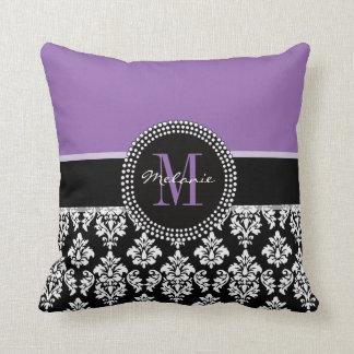 Black Damask Purple Monogram Personalized Pillow