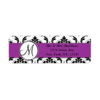 Black Damask Purple Monogram Return Address Label