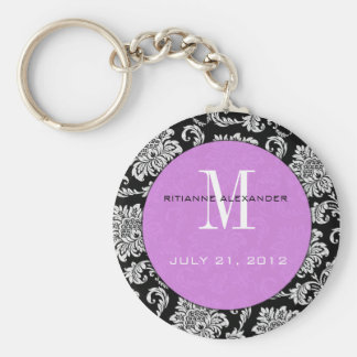 Black Damask Purple Monogram Wedding Keychain