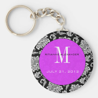Black Damask Purple Monogram Wedding Keychain