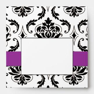 Black Damask Purple Wedding Invitation Envelope