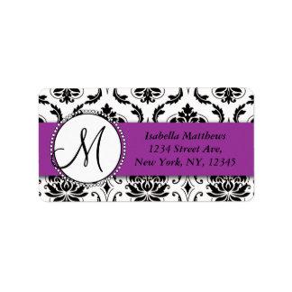 Black Damask Purple Wedding RSVP Return Address Label