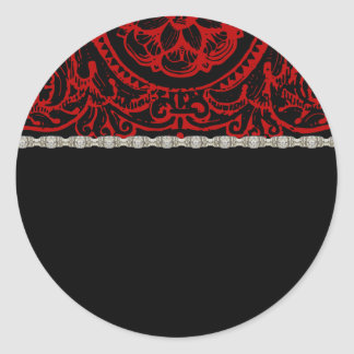 Black Damask Red & Diamond Trim Labels Classic Round Sticker