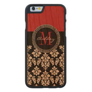 Black Damask Red Initial Name Carved Cherry iPhone 6 Slim Case