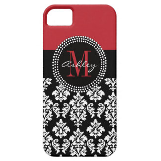 Black Damask Red Initial Name iPhone 5 Covers