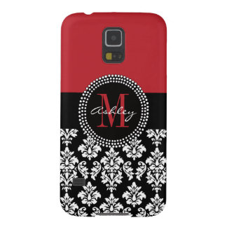 Black Damask Red Initial Name Galaxy S5 Cover