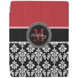 Black Damask Red Initial Name iPad Smart Cover
