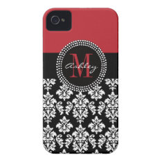 Black Damask Red Initial Name Iphone 4 Cover at Zazzle