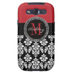 Black Damask Red Initial Name Samsung Case Samsung Galaxy S3 Cases