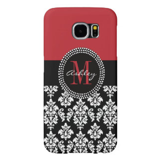 Black Damask Red Initial Name Samsung Galaxy S6 Case