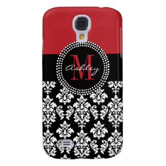 Black Damask Red Initial Name Samsung S4 Case