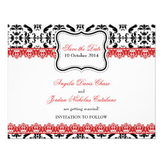 Black Damask Red Lace Save the Date Custom Invitations