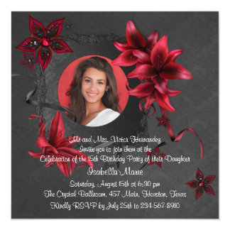 Black Damask Red Lilies Photo Quinceanera Card