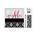 Black Damask, Red Monogram, Names Wedding Postage Stamp