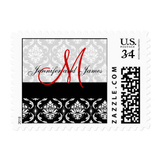 Black Damask, Red Monogram, Names Wedding Postage