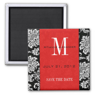 Black Damask Red Monogram Save The Date 2 Inch Square Magnet