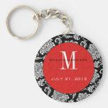 Black Damask Red Monogram Wedding Keychain