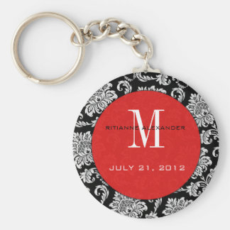 Black Damask Red Monogram Wedding Keychain